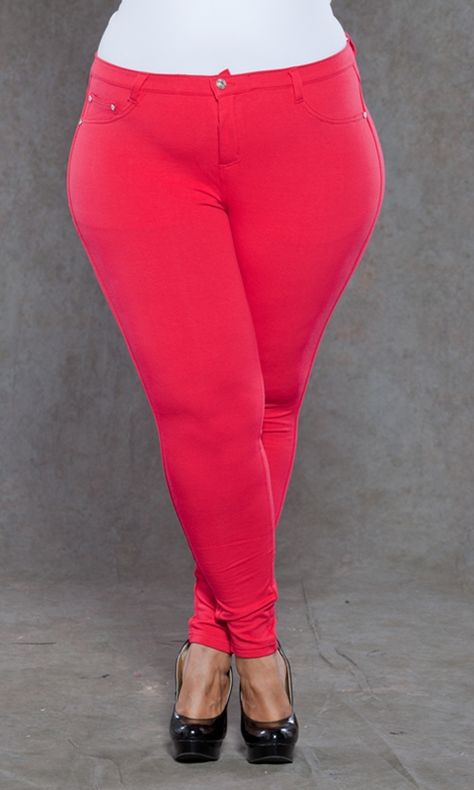 Lightweight, super stretchy plus size jeggings in trendy colors! We can't get enough of these soft jeggings. Whether your bootyliscious or straight in shape, these will skim your curves and show your natural assets.