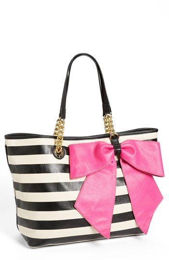 a44298991aa8 Black and White Striped tote with Gold Chain and Black Leather Tote with Pink  Bow Bow-Nanza Tote by Betsey Johnson