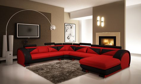 Modern Red and Black Leather Sectional Sofa with Headrests | Leather ...