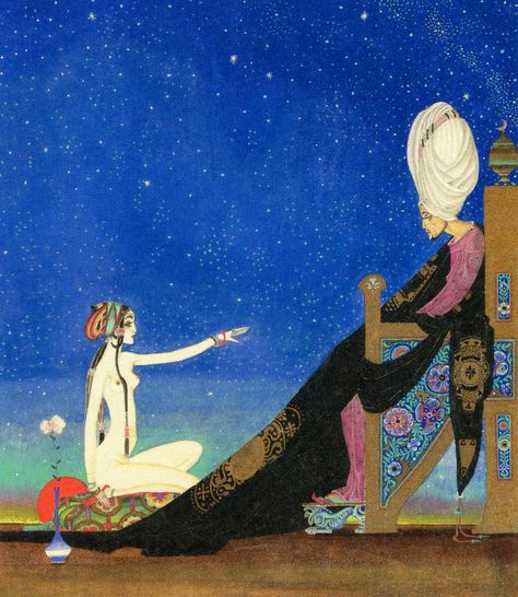 "Kay Nielsen is among the greatest artists associated with what is known as ""The Golden Age of Illustration"" and his works are associated with classic fairy tales, in addition to myths and fables. Kay Nielsen, Art Nouveau, Art Deco, Vintage Illustration Art, Botanical Illustration, Fairytale Art, Arabian Nights, Illustrations And Posters, Grimm"