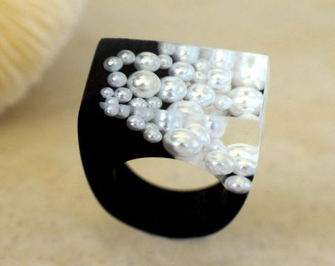 Resin Ring The Falling Pearl Ring Black Rings Nature Scape Sculptural Landscape Rings Fantasy Rings Exclusively at ResinHeavenUSA