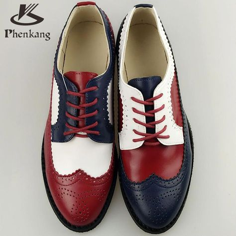 1e5334f1c7c Genuine leather big woman US size 11 designer vintage flat shoes round toe  handmade red white blue oxford shoes for women fur #Skirtoxfordshoes