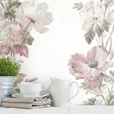 Vintage Floral Stripe Pink Peel And Stick Wallpaper Roommates