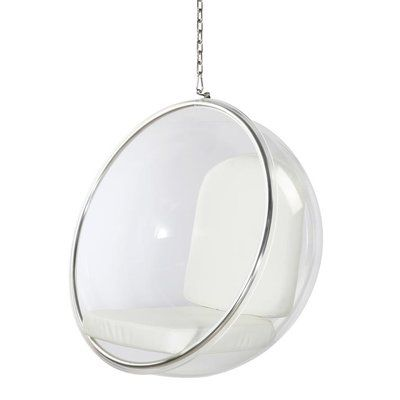 Eero Aarnio Style Bubble Hanging Lounge Chair With White Cushion Brand New Room Ideas Bedroom, Bedroom Decor, Bubble Chair, Cute Room Decor, White Cushions, Aesthetic Bedroom, Cool Chairs, Lounge Chairs, Dream Rooms