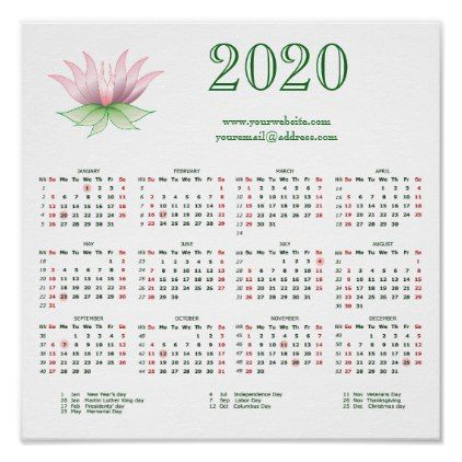 Calendar 2020 For Business Add Your Logo Website Poster Zazzle
