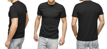 Download Young Male In Blank Black T Shirt Front And Back View White Background Design Men Tshirt Template And Mockup For Print Stock Images Pakaian