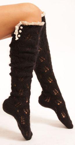 Mohair Lacy Knee Socks - Black