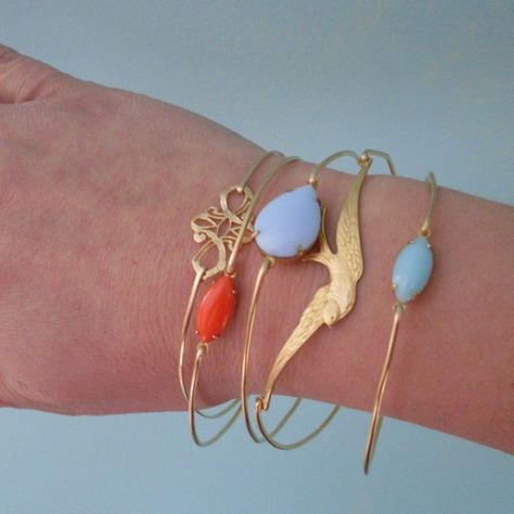 White Bangle Bracelet Nadja White Stone Bangle by FrostedWillow