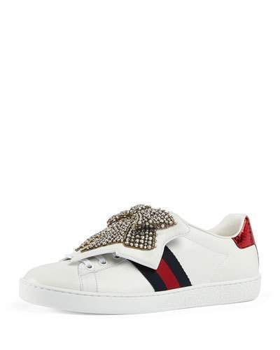 5a1cd77de Gucci New Ace Bow Lace Patch Sneaker | Products | Gucci sneakers ...