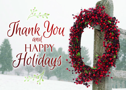 Simply Thankful Wreath Holiday Cards Https Partyblock Holidaycardwebsite Com Holiday Bus Holiday Card Template Business Christmas Cards Christmas Card Images