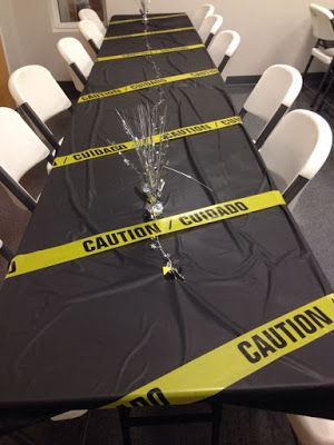Table decor for an escape room party Spy Birthday Parties, Construction Birthday Parties, Construction Party, Birthday Party Decorations, Spy Kids Party, Zombie Birthday, Birthday Ideas, Geheimagenten Party, Clue Party