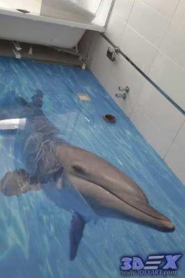 3 D Dolphin Bathroom Floor Floor Wallpaper 3d Floor Art Floor Murals