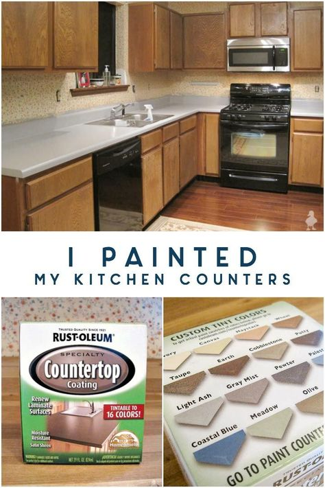i painted my kitchen counters: countertop paint made a pretty big difference in my kitchen, and for about $20! If you're considering trying out a new countertop color or aren't ready to invest in new counters but need a change, you might want to try painting it first so you can get a good visual. #kitchencounters #countertoppaint #paintedcounters #kitchencountertop #cheapkitchenupgrades #kitchenupgrades #80skitchen