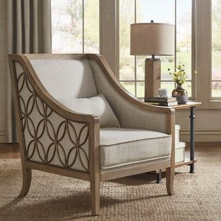 Leroy Exposed Wood Beige Linen Sloped Arm Trellis Accent Chair By