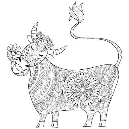 Coloring Page With Cow Zenart Stylized Hand Drawing Milker Illustration In 2020 Coloring Pages Hand Drawn Vector Illustrations Cartoon Cow