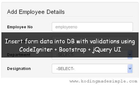 CodeIgniter Bootstrap Tutorials Insert Form Data into Database - employee details form