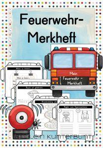 Feuerwehr Merkheft Froilein Kunterbunt Unterrichtsmaterial