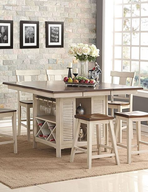 Heather Counter Height Island Table Dinner Tables Furniture Bar Height Kitchen Table Kitchen Table With Storage