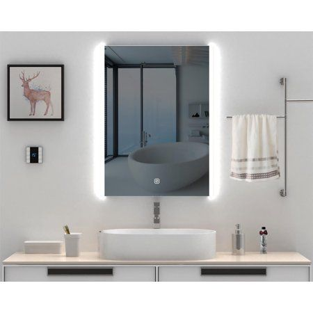 Led Lighted 32 X24 Anti Fog Bathroom Wall Mounted Vanity Mirror Makeup Mirror Bathroom Mirror Dimmable One Touch Switch Waterproof Illuminated Mirror For Home In 2020 Illuminated Mirrors Lighted Vanity Mirror Bathroom Mirror Cabinet