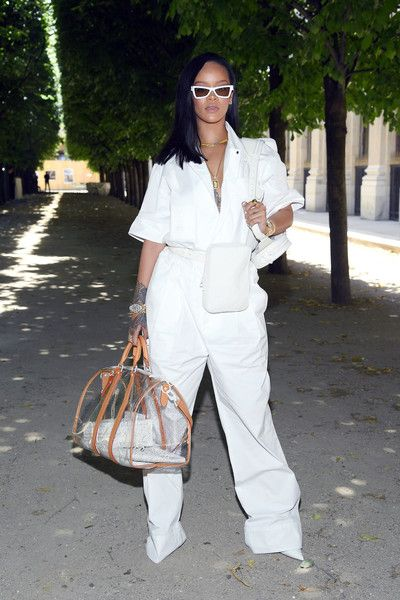 Rihanna attends the Louis Vuitton Menswear Spring/Summer 2019 show as part of Paris Fashion Week.
