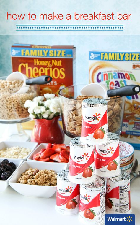 How to Make a Breakfast Bar | Walmart - Display your cereal and toppings in pretty bowls and add an inexpensive bouquet of flowers to the center of your breakfast bar. Even if the ingredients are not all homemade, you can still make things feel pretty and upscale with a few inexpensive additions and beautiful plating.