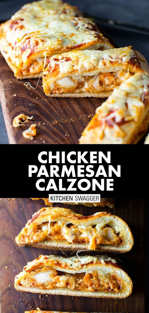 My take on a classic chicken parmesan calzone filled with crispy chicken, parmesan, and mozzarella cheeses. Baked to perfection. The only calzone recipe you'll ever need—a chicken parm calzone filled with crispy chicken, Parmesan, and mozzarella cheeses. Chicken Parmesan Calzone Recipe, Chicken Recipes, Chicken Stromboli Recipe Easy, Homemade Calzone, Crunchwrap Supreme, Queso Mozzarella, Recipes With Mozzarella Cheese, Scones, Spinach Stuffed Chicken