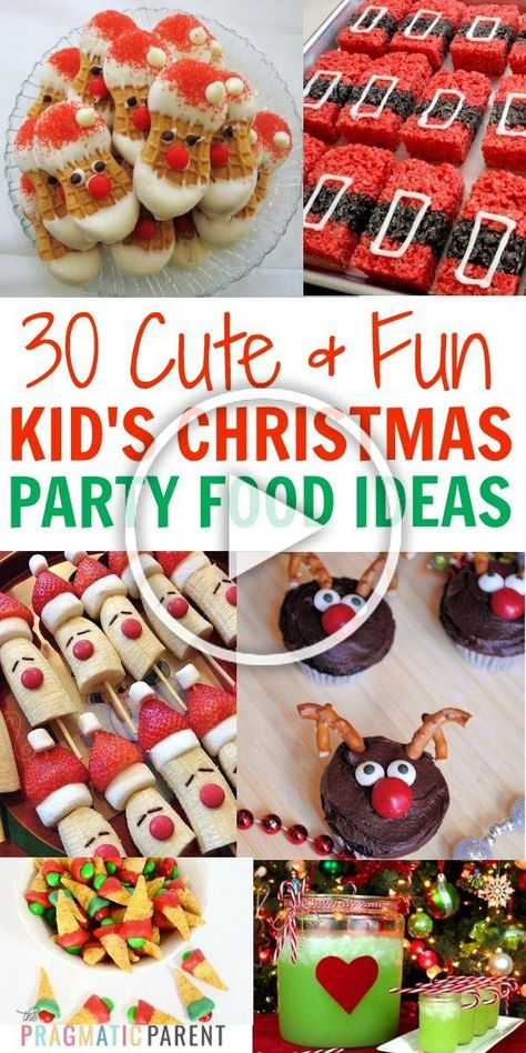 30 Fun Childrens Christmas party food ideas, perfect for any festive occasion or your childrens Christmas party at school. Cute and fun kids Christmas party food ideas.#childrenschristmaspartyfood #christmaspartyfood #kidschristmastreats #childrenschristmastreats