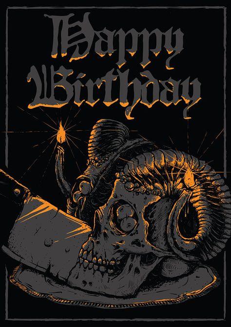 Happy Birthday postcard metalhead rocker skull dark goth
