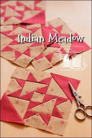 Indian Meadow - a similar block instructions http://www.quiltinaday.com/freepattern/patterns/Indian.pdf