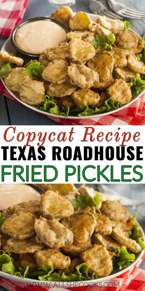 Gotta love fried pickles I mean these Copycat Texas Roadhouse Fried Pickles are seriously good They are one of those appetizers that I can fall for again and again Side Dish Recipes, Easy Dinner Recipes, New Recipes, Cooking Recipes, Favorite Recipes, Potato Recipes, Cake Recipes, Recipies, Easy Fried Pickles