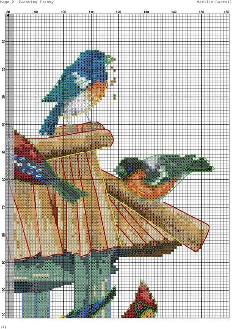Gráfico de punto de Cruz Estilo Vintage Chic Jaula De Pájaro Gráfico sólo