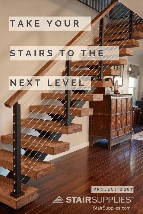 StairSupplies' floating stairs elevate the look of your home; they're both classy and sleek.  . . .  #floatingstairs #staircases #stairs #staircaseideas #staircaserailingideas #staircaseremodel #stairrailing