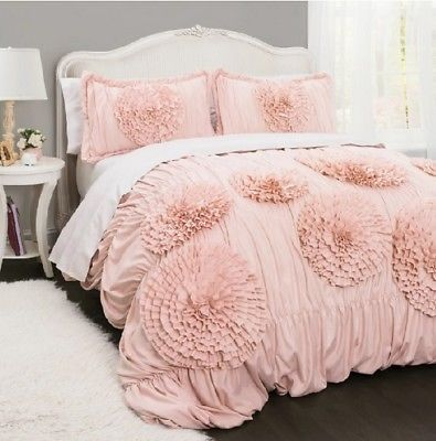Details About Pink Ruffled Comforter Set Full Queen Bedding