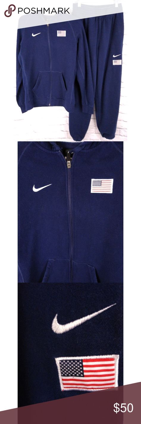 "Rare Nike Team USA Full Tracksuit Sweatsuit L Amazing Nike Team USA full tracksuit. Features the Nike Swoosh and USA flag embroidered on the hoodie and the pants. The pants are super high waisted with a thick band and have adjustable bottoms to add or remove taper. This is a full sweatsuit so it's very soft and warm. Excellent condition. No holes or stains. Smoke free home. Fast shipping.  Measurements:   Hoodie: Chest: 21"" pit to pit, length: 26.5"", Sleeve: 30.5"" Pants: Waist: 25""-31"" (has elas"