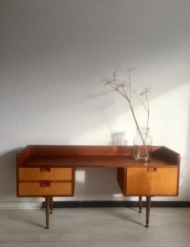 Marktplaats Sidetable Teak.Toffe Vintage Kaptafel Side Table Met Drieluik Spiegel Uit