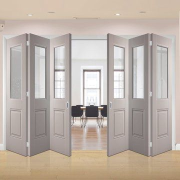 Thrufold Arnhem Grey Primed 3 3 Folding Door Clear Safety Glass Lifestyle Image Greydoors Foldingdoo Internal Folding Doors Folding Doors White Doors