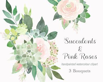 flower clipart wedding art Commercial Licence for 5 sets hand painted clip art handpainted clipart floral graphics watercolour clipart