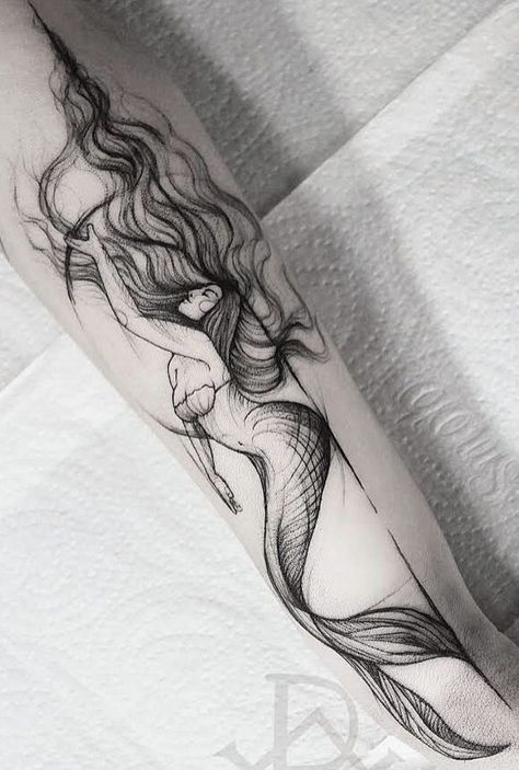 Image result for black mermaid tattoos