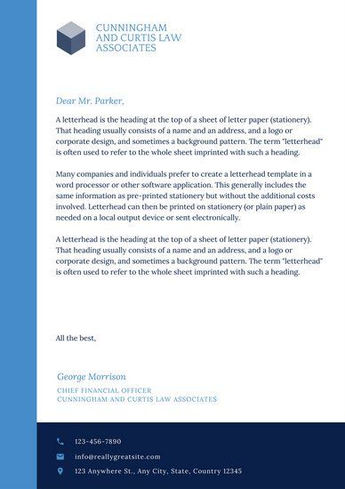 Blue Modern Law Firm Letterhead Letterhead Coupon Template