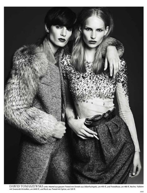Vogue Germany August 2011: New Talent by Gregory Harris | girl friends | best friend | posing | model | fur | tweed | wool | autumn | winter | beauty |