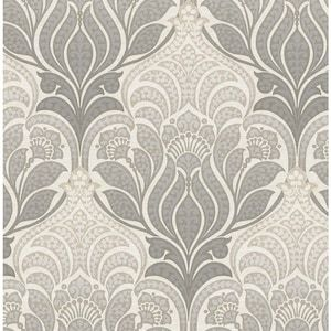 Nuwallpaper 30 75 Sq Ft Gray Vinyl Floral Self Adhesive Peel And Stick Wallpaper Lowes Com In 2020 Damask Wallpaper Peel And Stick Wallpaper Wallpaper