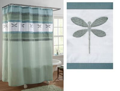 Dragonfly Bath Colorblock Shower Curtain