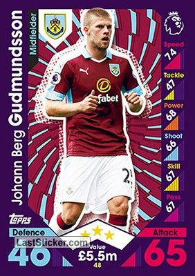 Johann Berg Gudmundsson Burnley English Premier League Match Attax Premier League
