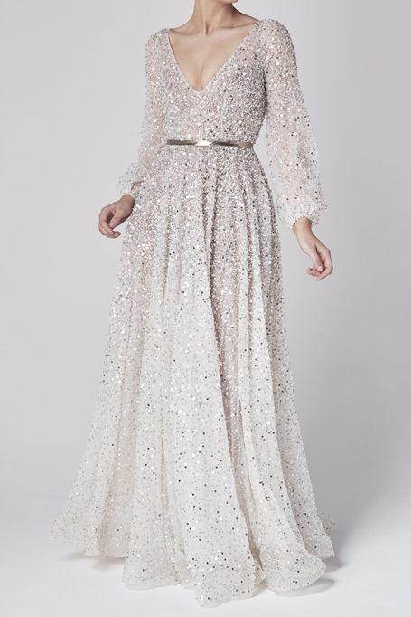 Belmont Gown One Day Bridal Usa In 2020 Sparkle Wedding Dress Beaded Wedding Gowns Wedding Dress Long Sleeve