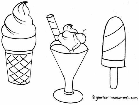 Gambar Coloring Ice Cream Fruits Drawing Kids Learning Belajar
