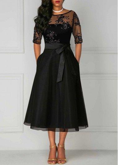 Rotita Com Usd 36 87 Three Quarter Sleeve Dresses Lace Panel Dress Dresses