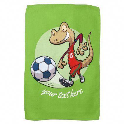 Happy Soccer Star Gecko Kicking Football Cartoon Kitchen Towel Interiordesignforlivingroom Soccer Stars Football Wall Art Football