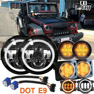 Fits Jeep Wrangler Jk 7inch Led Halo Headlights Fog Turn Fender
