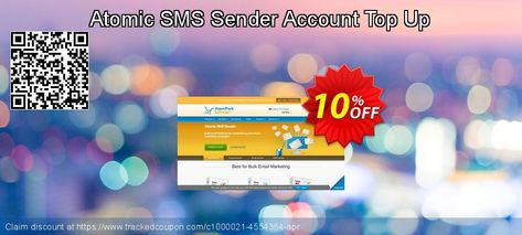 Atomic SMS Sender Account Top Up Coupon 10% discount code, Aug 2019