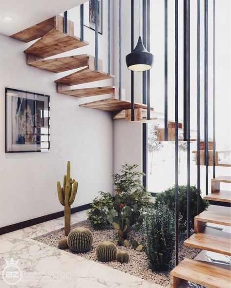 Minimal Interior Design Inspiration   180 - UltraLinx. floating stairs with living desert plants.